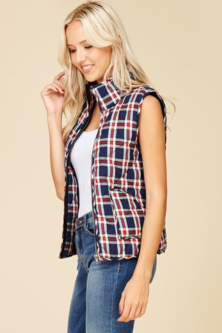 Plaid Puffy Vest - Navy and White