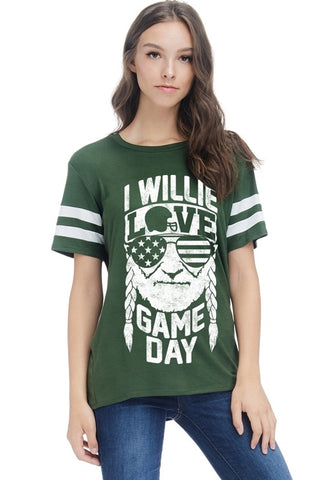 I Willie Love Game Day Top - Dark Green