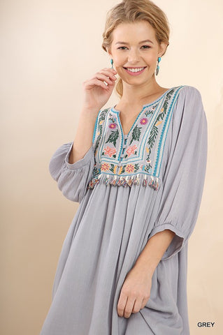 Embroidered Boho Dress - Grey