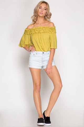 Off Shoulder Ruffle Top - Off White