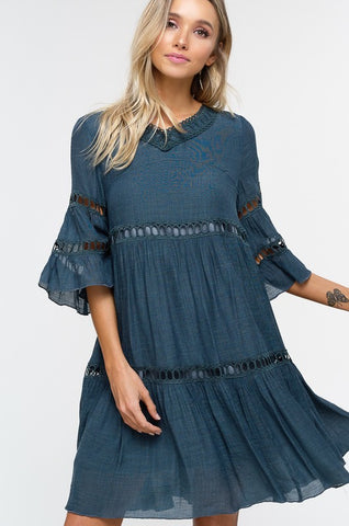 Babydoll Boho Dress - Misty Emerald
