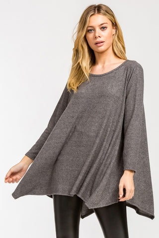 Cozy Poncho Style Top - Charcoal