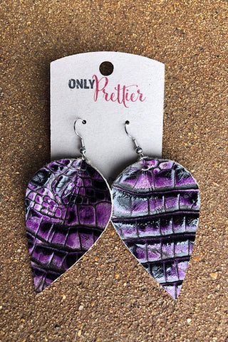 Snake Print Leather Earrings - Purple