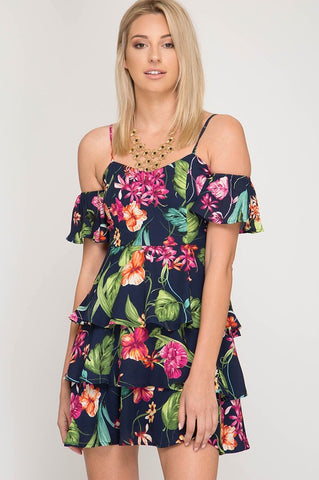 Tropical Vibes Ruffle Dress - Navy