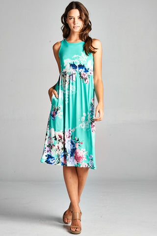 Floral Racerback Midi Dress - Mint