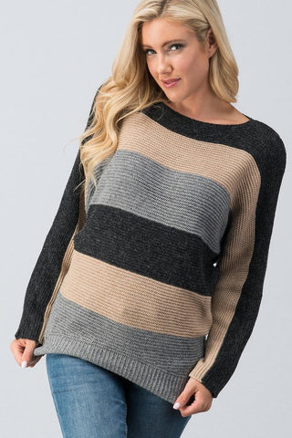 Color Block Sweater - Black and Taupe