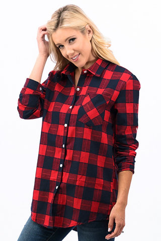 Checkered Plaid Top - Red
