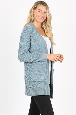 Popcorn Cardigan - Blue Grey