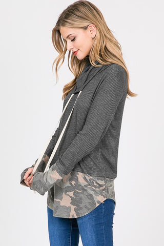 Camo Color Block Cowl Neck - Charcoal