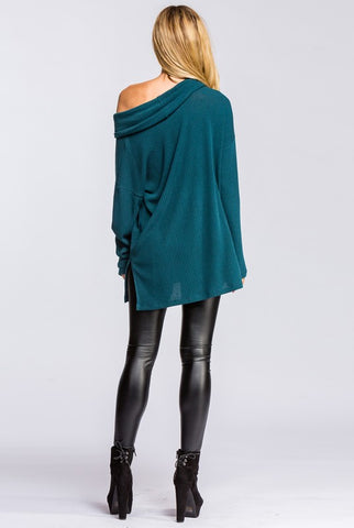 Fall Cowl Neck Top - Hunter Green