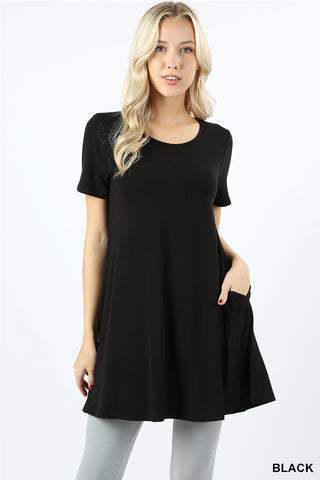 Short Sleeve Tunic with Pockets - Black