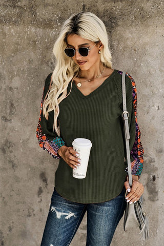 Contrast Sleeve Thermal Top - Olive Green