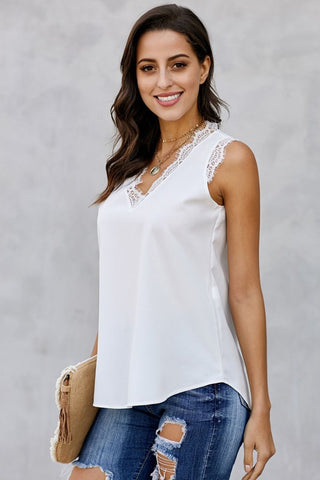 Sleeveless Eyelash Tank - White