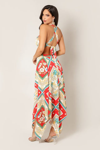 Abstract Print Maxi Dress with Cutout - Teal