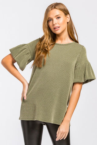 Half Puff Sleeve Top - Olive