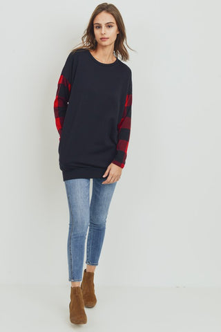 Elbow Patch Buffalo Plaid Tunic Top - Black