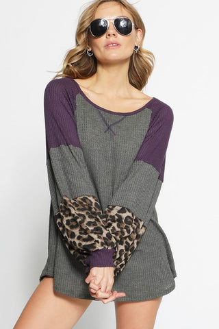 Puff Sleeve Color Block Leopard Top - Charcoal and Black
