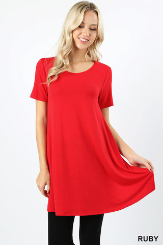 Short Sleeve Tunic with Pockets - Ruby