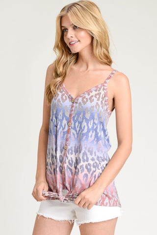 Leopard Button Up Tank - Navy and Mauve