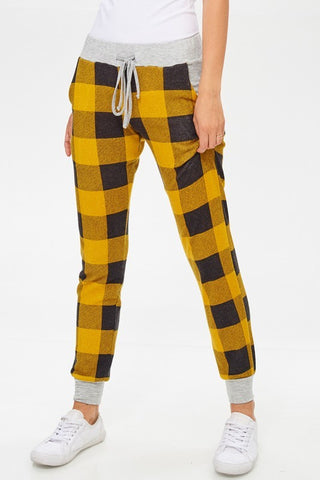 Cozy Cabin Buffalo Plaid Joggers - Mustard