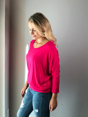 Dolman Sleeve Top - Fuchsia