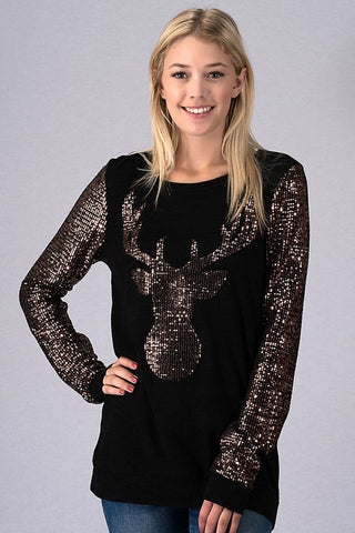 Reindeer Sequined Top - Black
