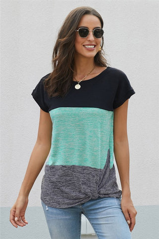 Color Block Twist Tee - Aqua