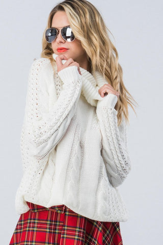 Cable Knit Cowl Neck Sweater - Ivory
