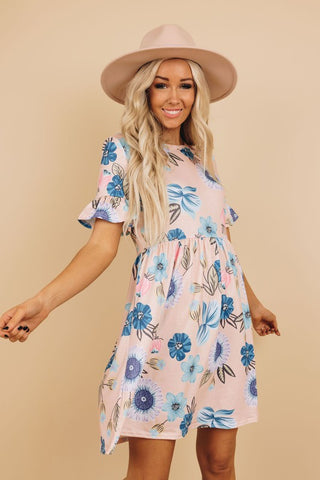 Spring Flair Dress - Peach