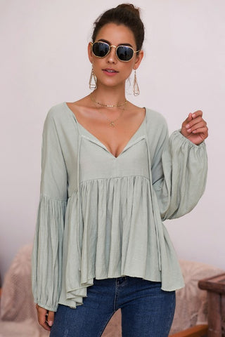 Boho Style Baby Doll Top - Sage