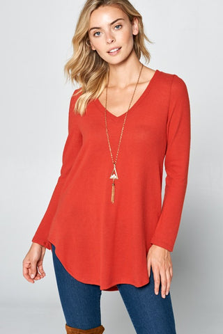 V-Neck Rust Top