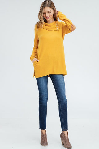 Cowl Neck Top with Elbow Patches - Mustard