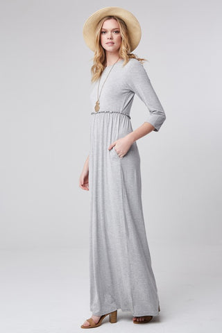 Half Sleeve Knit Maxi Dress - Heather Gray
