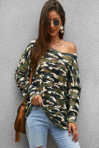 Slouchy Camo Top - Olive
