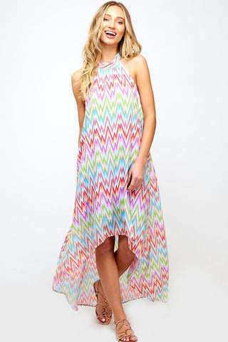 Pastel Rainbow Zig Zag Halter Maxi Dress