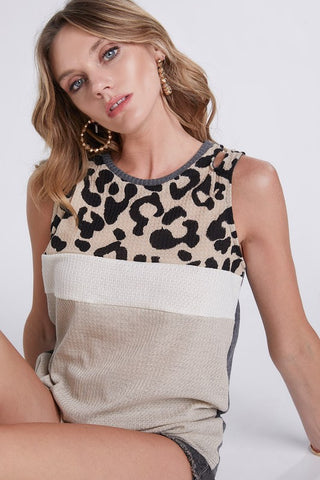 Color Block Leopard Waffle Knit Top - Taupe
