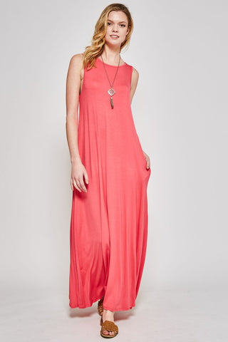 Simple Sleeveless Maxi Dress - Coral