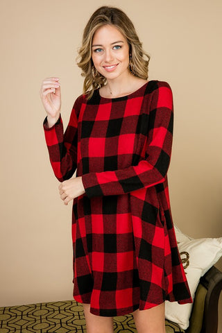 Buffalo Plaid Swing Dress - Red