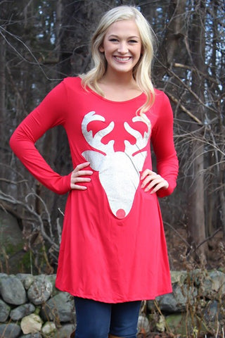 Glitter Reindeer Tunic - Red