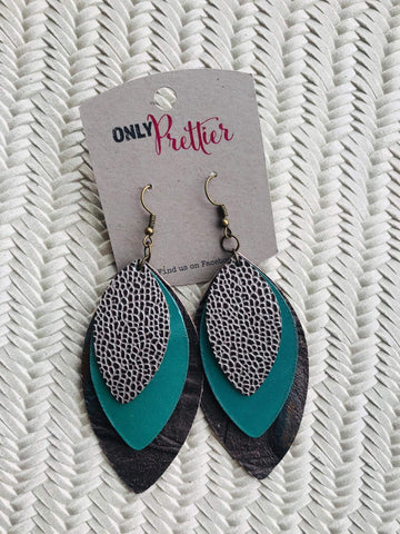 Layered Leather Leaf Shape Earrings - Turquoise and Charcoal