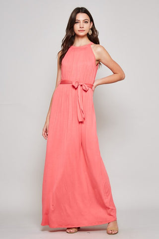 Solid Maxi Dress with Tie Waist - Coral
