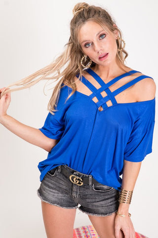 Criss Cross Off Shoulder Top - Royal