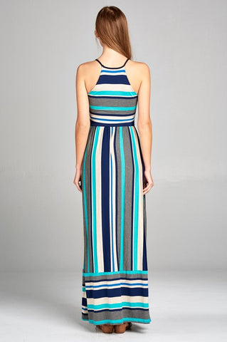 Calliope Striped Maxi Dress - Jade