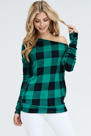 Off Shoulder Buffalo Plaid Top - Green