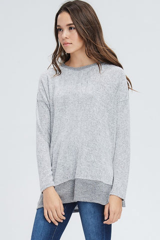 Casual Gray Fleece Top