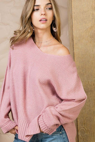 High Low Sweater - Mauve