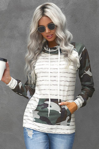 Camo Striped Cowl Neck Top