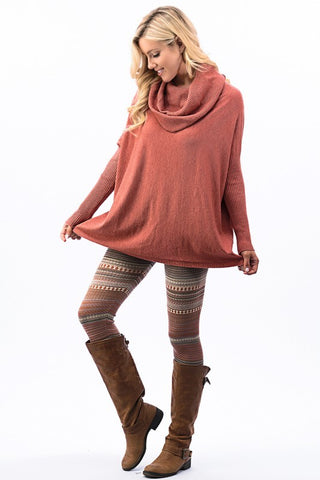 Fair Isle Leggings - Light Rust