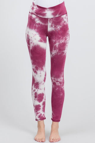 Tie Dye Knit Leggings - Berry and Ivory