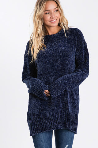 Soft Chenille Sweater - Navy